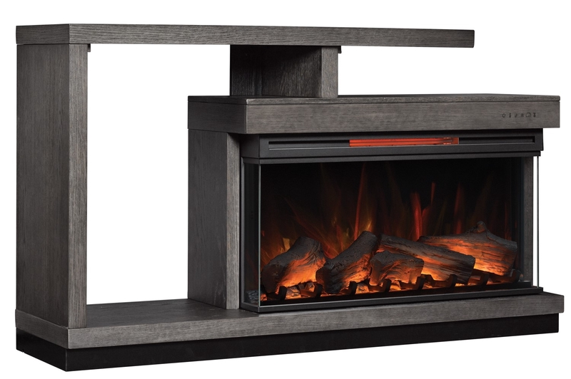 Wright Console w/ Fireplace Insert in Gray, Image 1