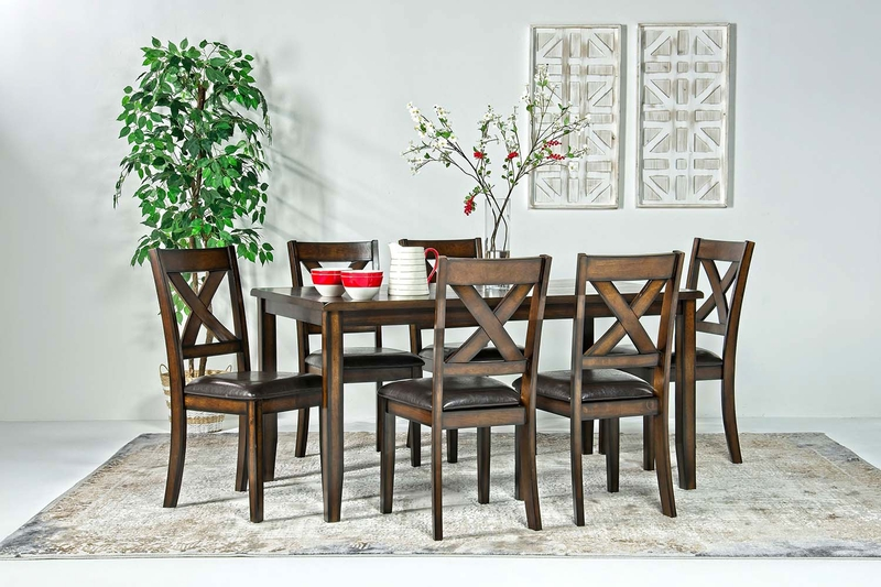 Palm Springs Dining Table & 6 Chairs in Brown, Image 1