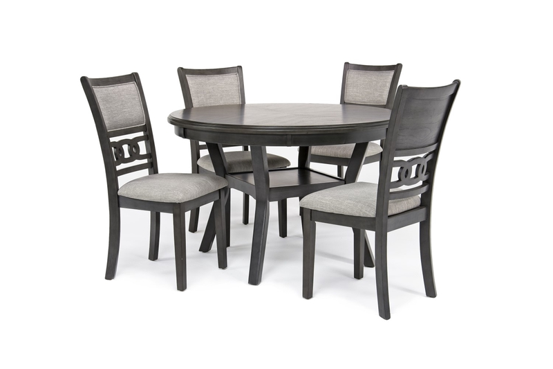 Gia Round Dining Table 4 Chairs In Gray Mor Furniture