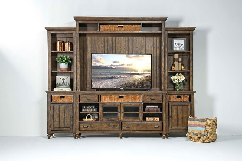 Cottage Lane 4 Piece Entertainment Center in Brown, 70 Inch, Image 1