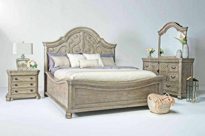 Bellamy Arch Panel Bed, Dresser & Mirror in Gray, Queen, Image 1