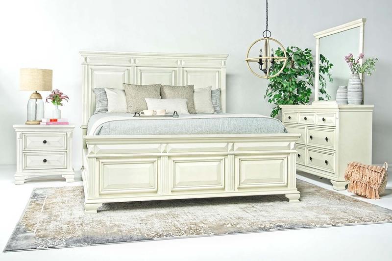 Calloway Panel Bed, Dresser & Mirror in White, Queen, Image 1