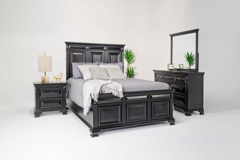 Calloway Panel Bed Dresser Mirror Nightstand In Espresso Eastern King Mor Furniture