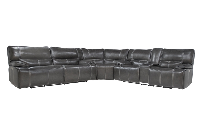 Sofia 3 Piece 3 Power Sectional in Gray Leather, Image 1