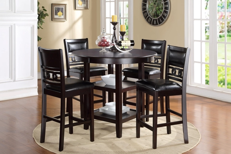 Gia Round Counter Height Dining Table 4 Stools In Dark Brown Mor Furniture