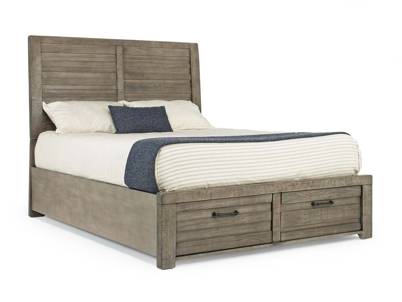 Ruff Hewn Panel Bed w/ Storage in Gray, Queen, Image 1